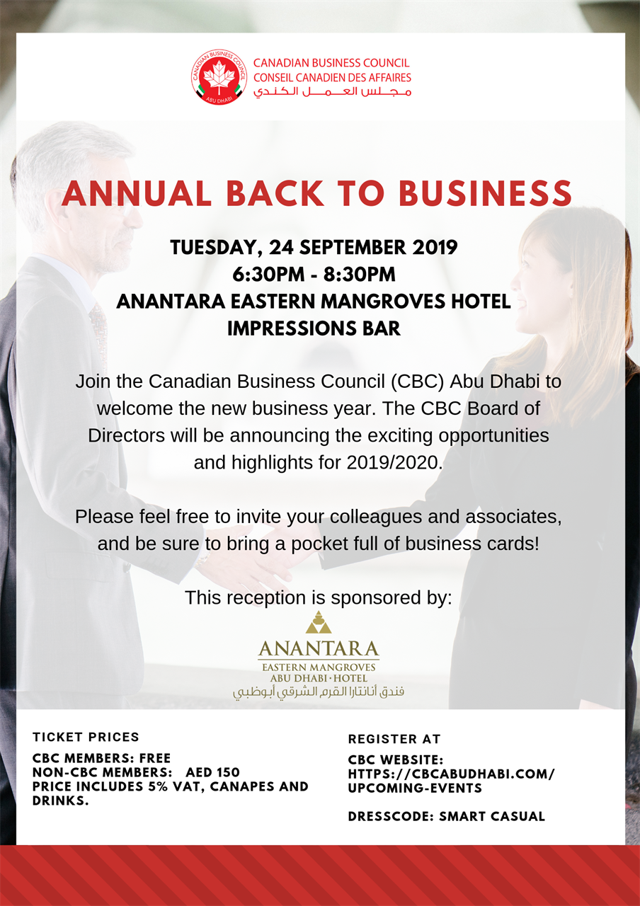 Canadian Business Council Abu Dhabi Annual Back To Business